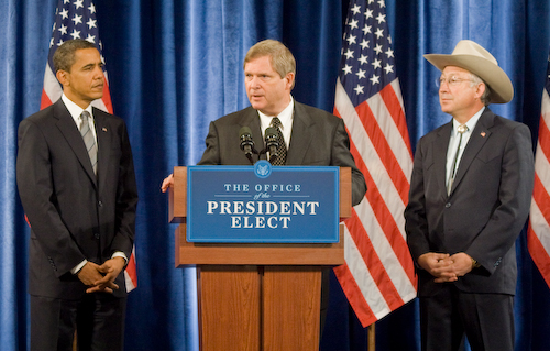 "Three wolf haters in one picture! President Obama, USDA Secretary Tom Vilsack, and ""Cowboy"" Ken Salazar."